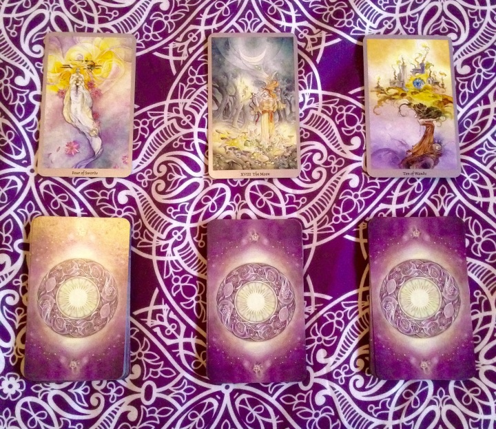 Four of Swords, The Moon, Ten of Wands - Shadowscapes Tarot