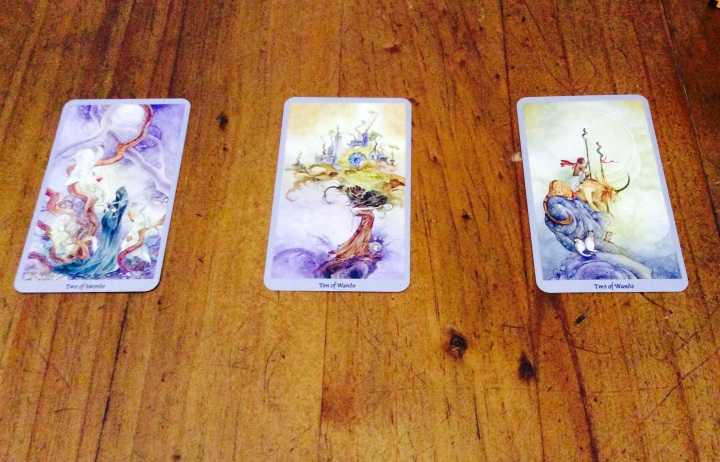 Two of Swords, Ten of Wands & Two of Wands - Shadowscapes Tarot